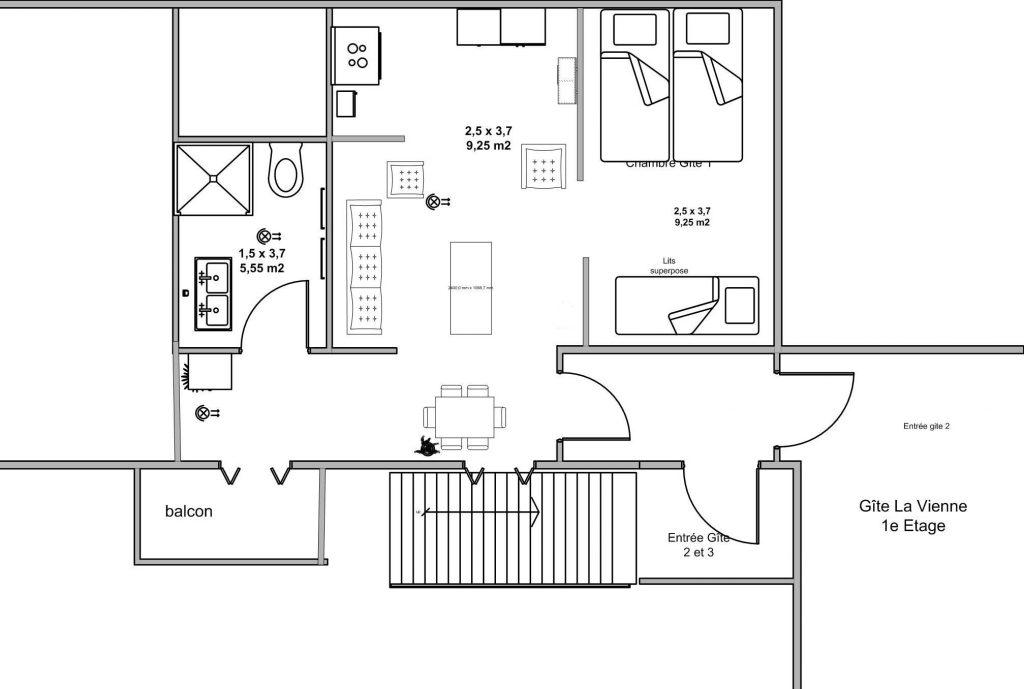 appartement vacances avec sanitair privé